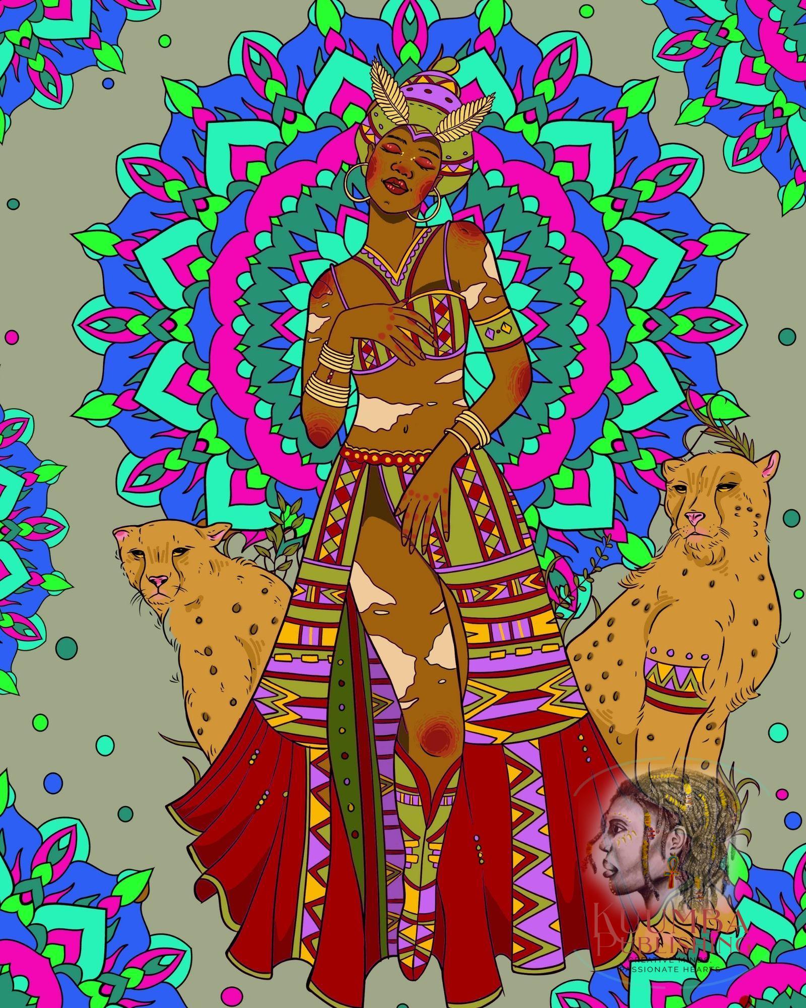 Goddess Mafdet Concept Art by Black woman author ND Jones