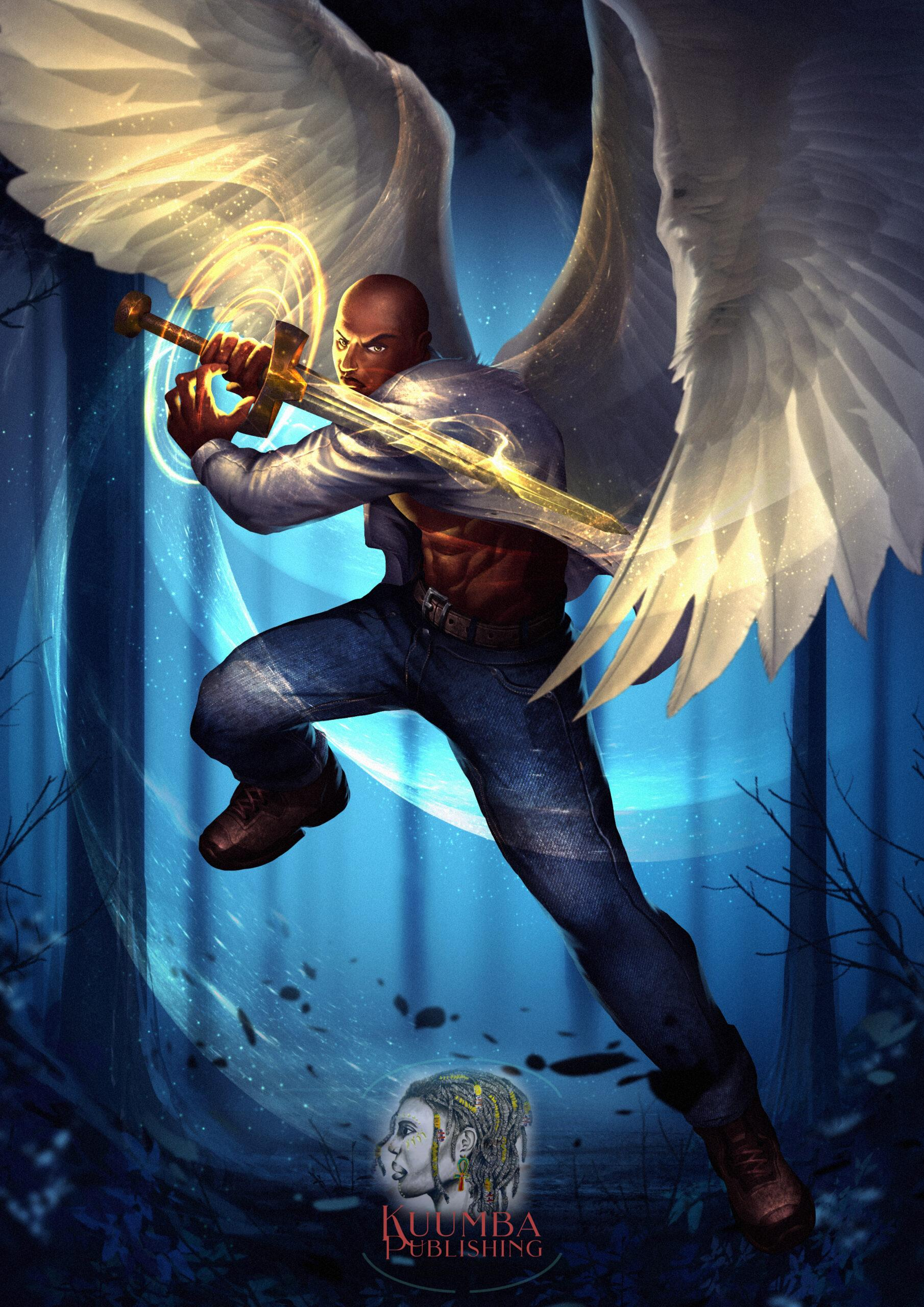 Winged Warriors Black Angel Archange Nathaniel Concept Art by ND Jones